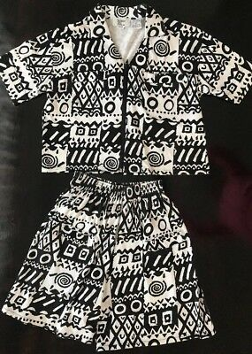 Bonnie And Bill By Holly Black White Vintage Knit Shorts Outfit Petite Small