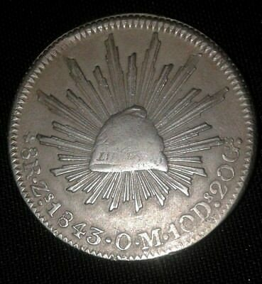 1843 Zs O.M. Republic of Mexico Silver 8 reales coin.