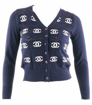 Vintage Bootleg Chanel Navy White CC Logo Cardigan Button Up Sweater SZ XS S