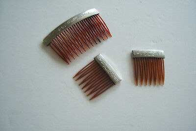 Lot of 3, Matching, VINTAGE HAIR COMBS w/SILVER BAR, Celluloid