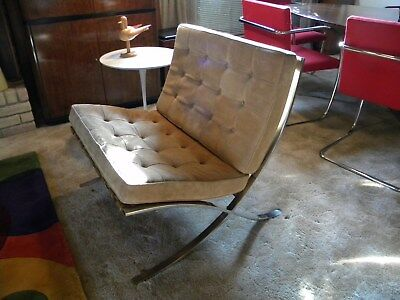 Auth. 1975 Knoll Barcelona Chair designed by Mies van der Rohe--Stainless Steel