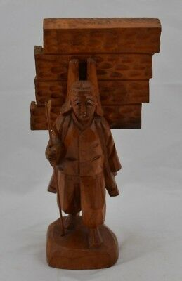 "Wood Carved Asian Figurine Man Carrying Wooden Unmarked 10"" Tall"