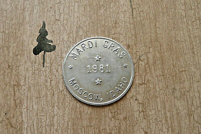 "*MARDI GRAS*  1981  ~  Moscow, Idaho ~ ""Good Luck""  Token ~ (4 Leaf Clover)"