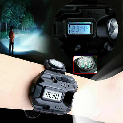 Tactical LED Rechargeable Wrist Watch Flashlight Torch Compass Running Hiking US