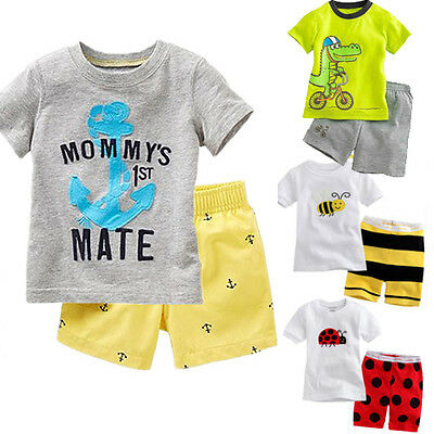 Toddler Boys Kids Short Sleeve T-shirts Top+Shorts Pants Casual Outfits Set 2-8T