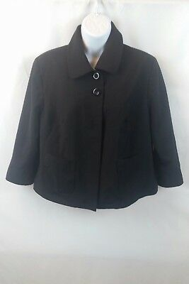 Duo Maternity Women's Blazer Suit Jacket Black Lined Front Pockets Size Medium