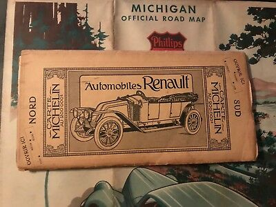 1910s Michelin Tire Tyre Renault Road Map Auto Atlas French - Gas Oil Sign Can