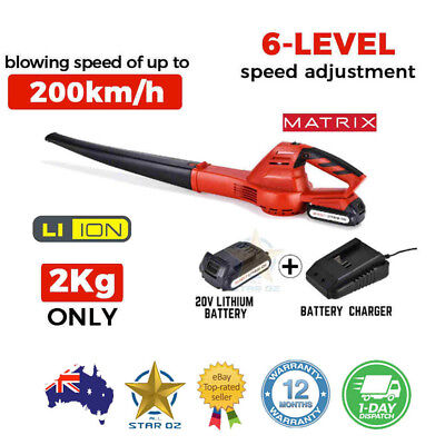 Electric Cordless Leaf Blower Garden Yard Lawn Kit With 20V Li-Ion Battery