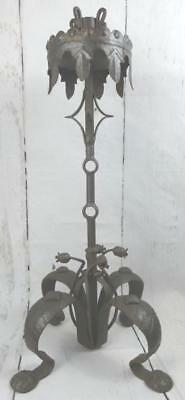 "VTG Antique Wrought Metal Cast Iron Arts & Crafts Gothic Candle Holder 25"" TALL"