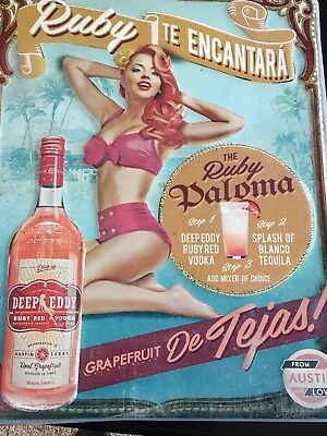 DEEP EDDY Ruby Grapefruit VODKA Tin Sign in Spanish- New NEAT SIGN! 16 x 20