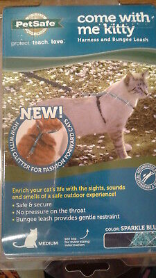 PetSafe Medium Cat Harness Bungee Leash come with me kitty Sparkle Blue