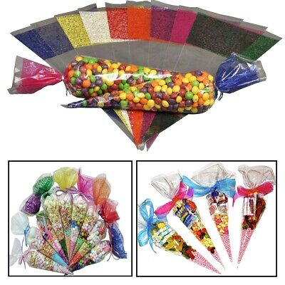 Cello Cellophane Wrapper Plastic Cone Sweet Candy Treat Gift Reception Party