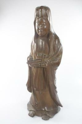 Vintage Chinese Guan Yin Hand Carved Wood Figural Large