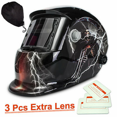 3 Lens+ 1 bag+ Solar Welding Helmet Mask Auto Darkening Grinding Head Shield AU9