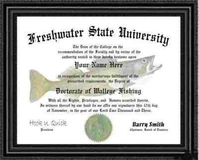 Walleye Angler's  Diploma / Degree Personalized Custom Made and Designed