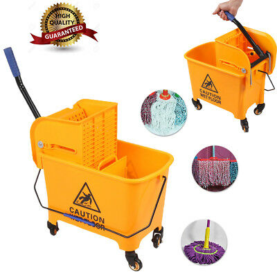 Professional 20L Kentucky Mop Bucket Wringer Cleaning Mopping 4 Wheels Yellow