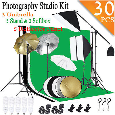 Photography Studio Backdrop Softbox Umbrella Lighting Kit Background Stand Set F