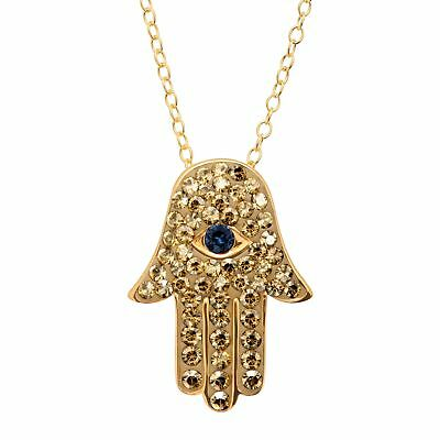 Hamsa Hand Pendant with Swarovski Crystals in 18K Gold-Plated Sterling Silver