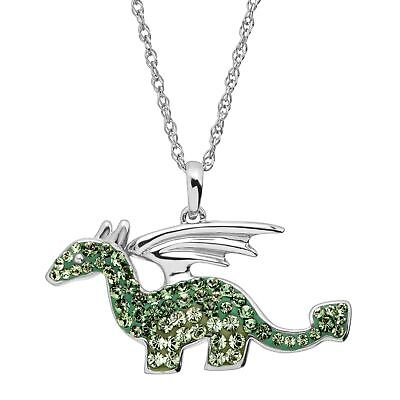 Dragon Pendant with Green Swarovski Crystals in Sterling Silver