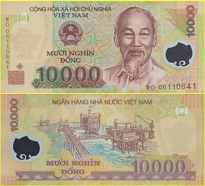 Vietnam Ho Chi Minh 10,000 Dong First Polymer Banknote Issued 2006 NPA Variety