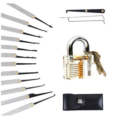Unlocking Lock Pick Set Key Extractor +Transparent Practice Padlocks 12PCS Hot