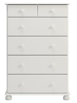 Copenhagen 2+4 Chest of Drawers in Painted White Traditional Style Pine Handles