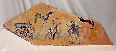Purvis Young African American Urban Black Funeral Procession Painting on Board