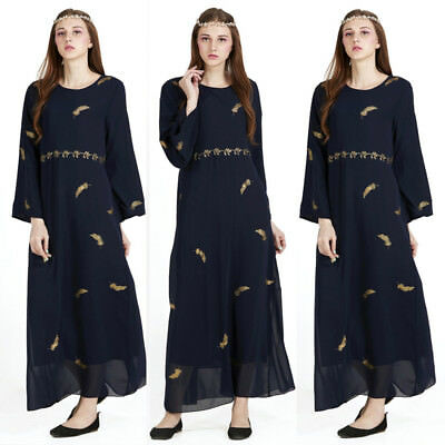 Women Summer Chiffon Kaftan Islamic Muslim Long Sleeve Abaya Jilbab Maxi Dress