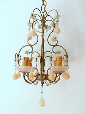 Vintage Macaroni Beaded Chandelier Murano Opaline Pink Drops & Cups 1920 Sconce