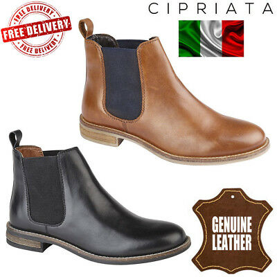 5d7ff1ec2b Cipriata Women s Alexandra Leather Chelsea Boots Ladies Twin Gusset Ankle  Shoes