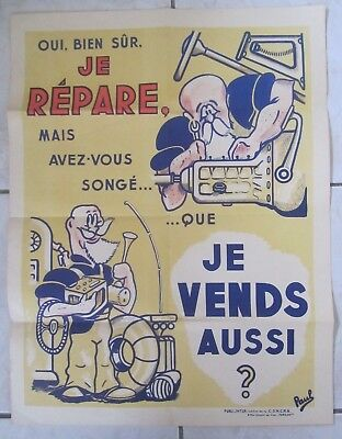 Ancienne Affiche Garage Garagiste Illustrateur Paul