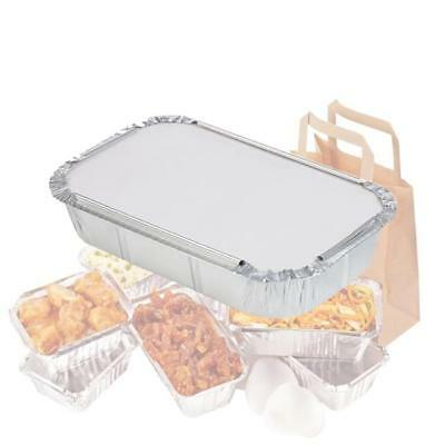 Heavy Duty Catering Aluminium Foil Food Grade Storage Containers with Lids x50