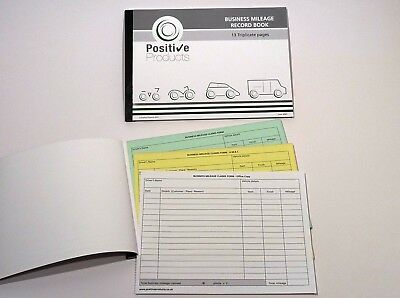 Triplicate Mileage Record Book 13 Pages HMRC Compliant