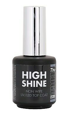 THE EDGE HIGH SHINE NON WIPE GEL TOP COAT UV/LED glitter, chrome,pigment
