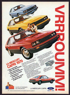1979 MERCURY Capri RS Vintage Original Print AD - Red car photo French Canada