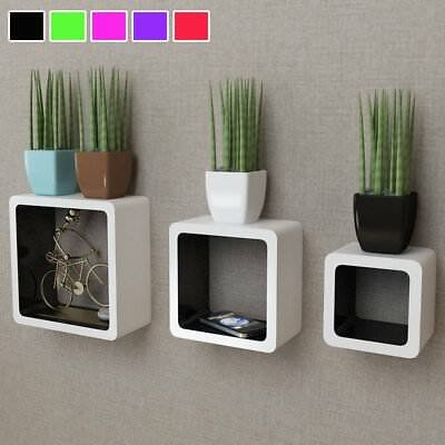 5 Colors Wooden Floating Wall Mounted Shelf Display Shelves Storage Cubes Square