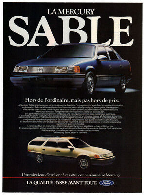 1986 MERCURY Sable Vintage Original Print AD Blue car wagon photo French Canada