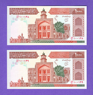 LOT #52  rare 1 Pair  P138h  UNC banknote 1000 Rial Islamic Republic CONSECUTIVE
