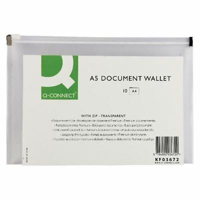 Q-Connect Clear A5 Document Zip Wallet (Pack of 10), Durable plastic [KF03672]