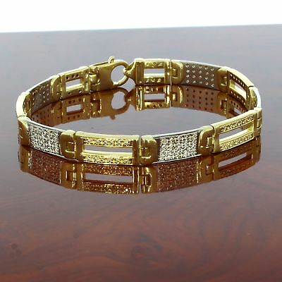 Wert 7.900,- Massives 750 / 18 Karat Gold Brillant Herren Armband 1,60 Ct 23 Cm
