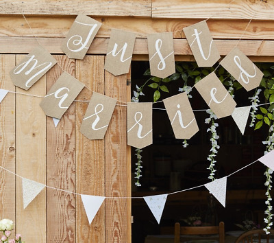 Just Married Garland - Rustic Look Wedding Venue Decoration