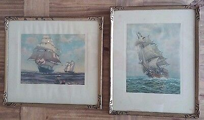 "Pair of seascape vintage prints ""Home Waters"" and ""An Old Time Clipper"""