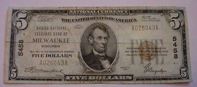 1929 $5  Marine National Exchange Bank Of Milwaukee Wisconsin