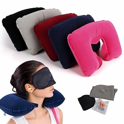 3Pc Set Inflatable Neck Rest Cushion Travel Pillow Sleeping Head Support Flight