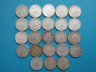 Lot of 23 ~ Canada ~ 1950s ~ Ten Cents ~ Dimes ~ 80% Silver Coins ~ $2.30 FV