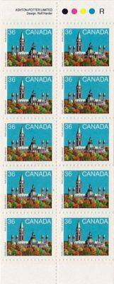 Canada — Booklet Pane of 10 in Cover — Parliament Building #926Bc (BK93) — MNH