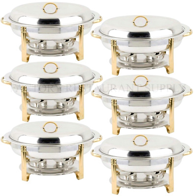 6 PACK Deluxe 6 Qt Gold Stainless Steel Oval Chafer Chafing Dish Set Full Size