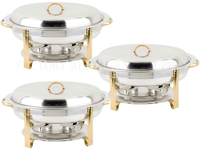 3 PACK Deluxe 6 Qt Gold Stainless Steel Oval Chafer Chafing Dish Set Full Size