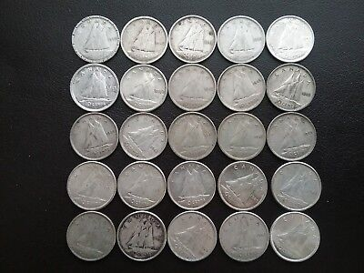 Lot of 25 ~ Canada ~ 1940s and 1960s ~ Ten Cents ~ Dimes ~ 80% Silver Coins