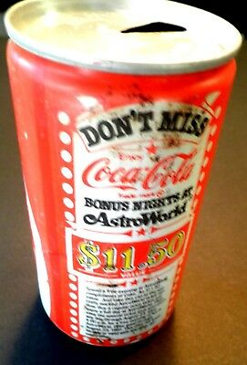 Rare Coca Cola Can 1981 Houston Astro world coupon 37years old!